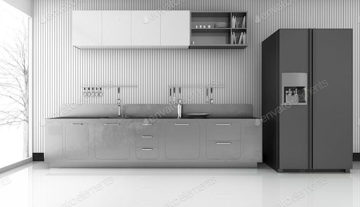 3d rendering modern metal kitchen with nice fridge