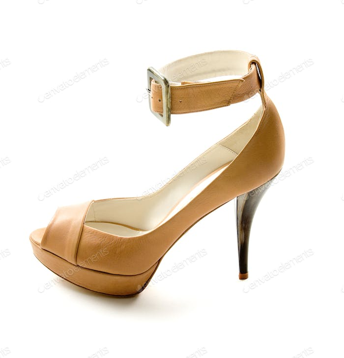 Elegant ankle strap nude peep toe bone stiletto