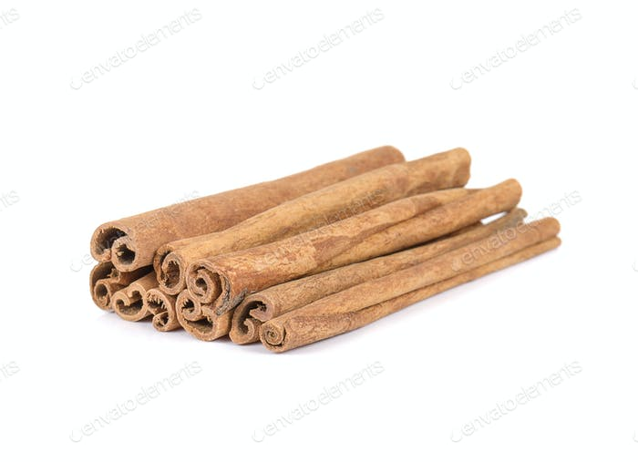 Cinnamon on white background.