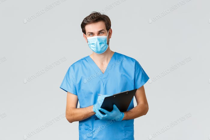Covid-19, quarantine, hospitals and healthcare workers concept. Smiling young doctor, nurse in