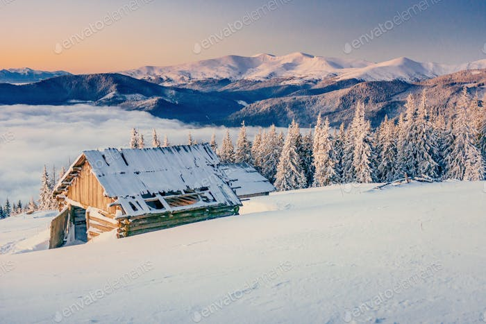 chalet in the mountains. Beauty world. Carpathians Ukraine Europe.