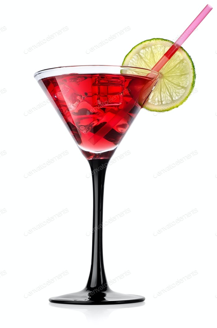 Red cocktail with lime