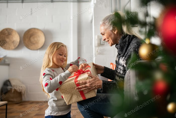 Grandmother giving xmas present to granddaughter