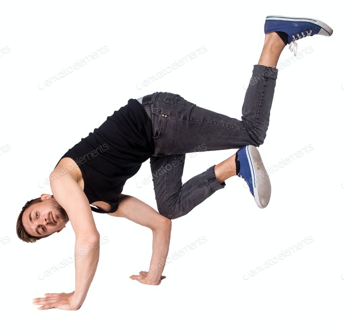 Break Tänzer tun Handstand vor weißem Hintergrund