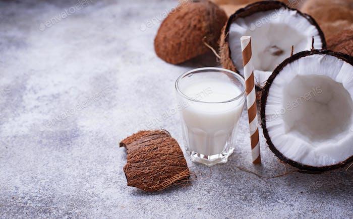 Non-dairy coconut milk. Healthy drink