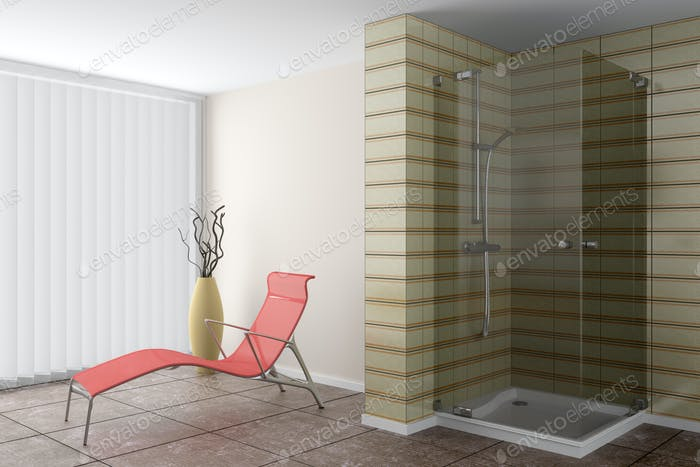 modern bathroom with red couch and brown vase