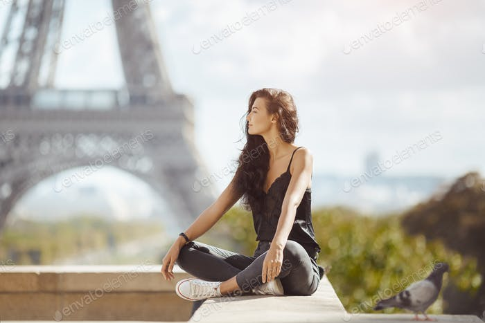 Beautiful Young Tourist Girl Near the Eiffel Tower, Paris