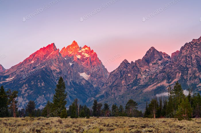 Mountain peaks at Grand Teton at sunrise, USA