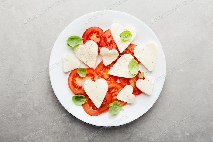Italian caprese salad for valentines day