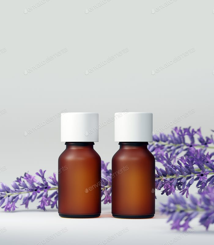 Essential oil bottle mock up. With lavender flower. White background. Body care and aromatherapy