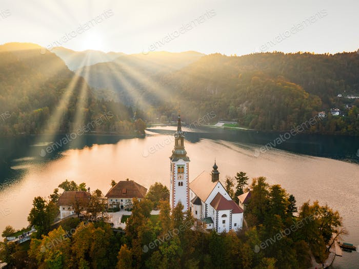 Bled Lake with Pilgrimage Church of the Assumption of Maria at sunrise