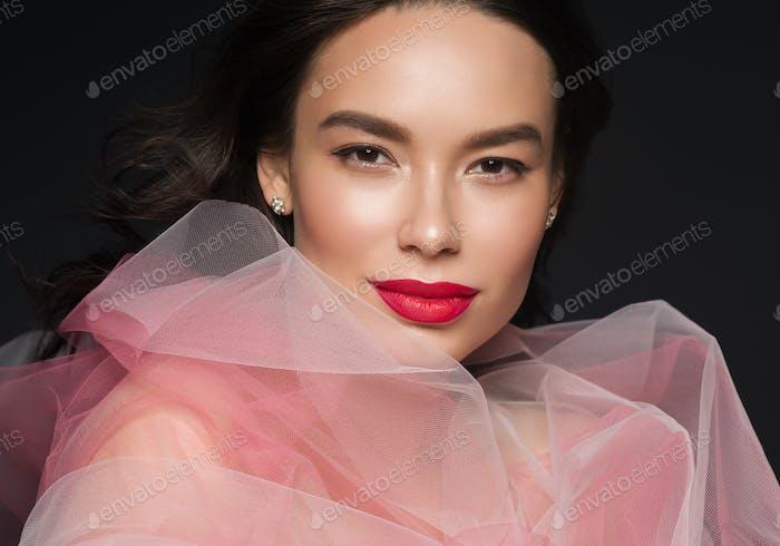 Art beauty woman portrait red lipstick dress beautiful asian