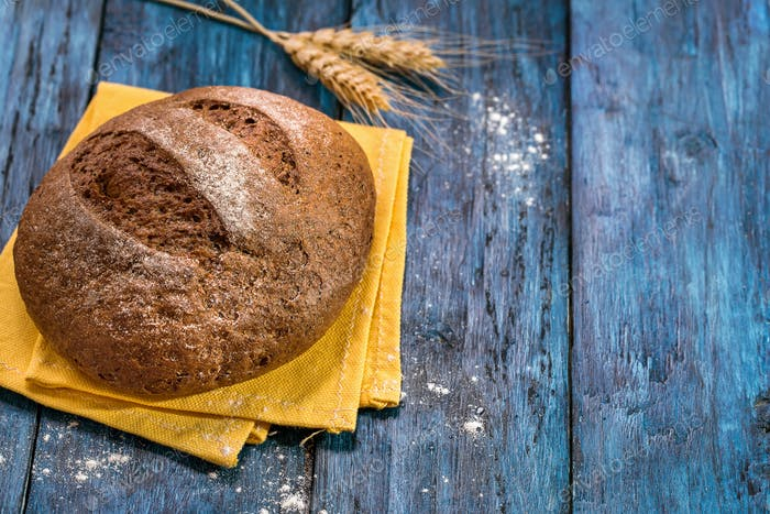 Rye bread copy space