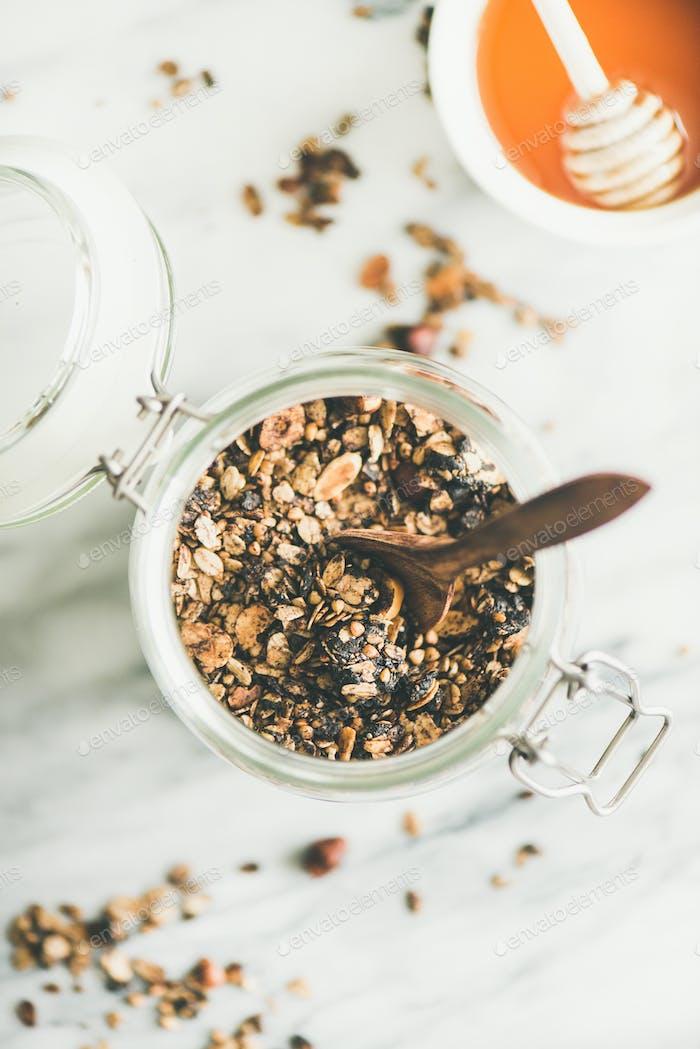 Buckwheat and granola with hazelnuts in glass jar