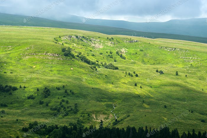 Mountain landscape of highland Lagonaki, Republic of Adygea, Russia