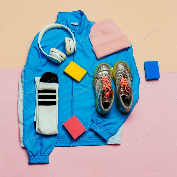 Stylish sports jacket and accessories. Hat, sneakers, earphone M