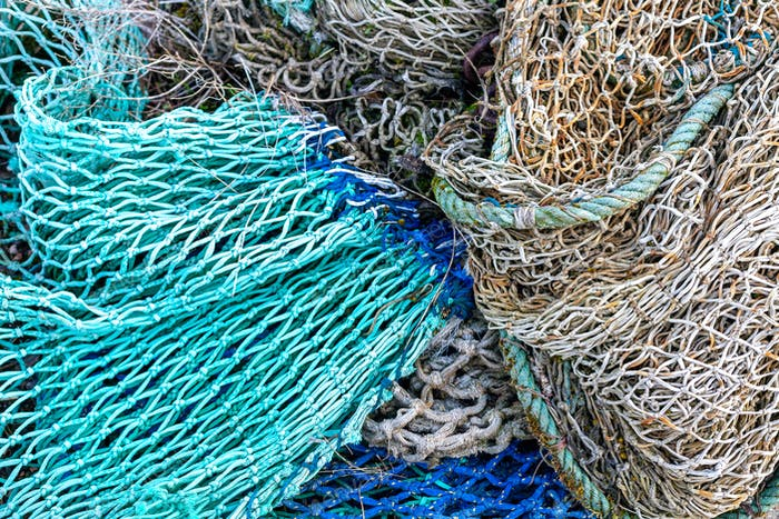 Fishing nets background in blue, aqua, white