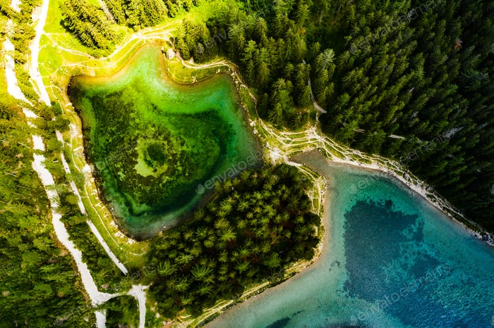 Peaceful aerial view at Green Lake in Austria