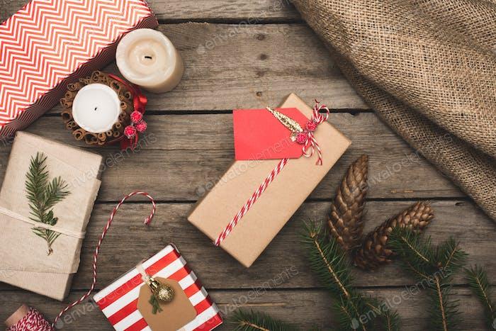 Draufsicht der schönen Weihnachtskomposition