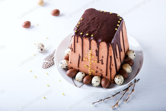 Easter festive traditional chocolate dessert cottage cheese