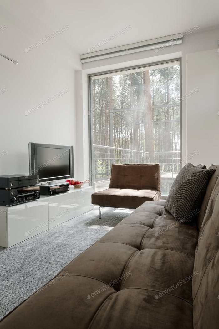 Room with panoramic window with forest view
