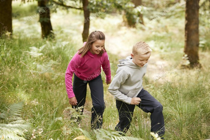 Two children walking together in a forest amongst greenery, three quarter length, side view