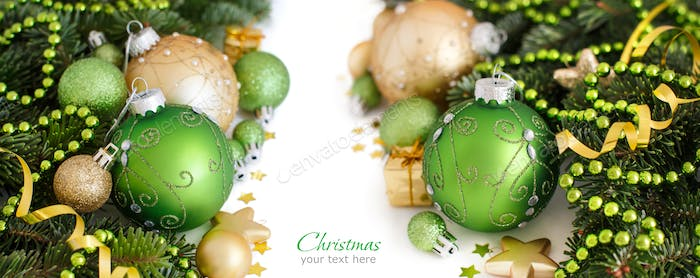 Green and golden Christmas ornaments border