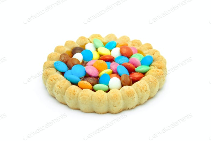 biscuit with colored chocolate candy and jelly