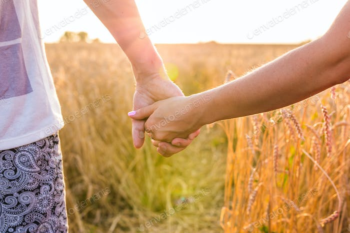 Closeup of couple holding hands in nature sunrise