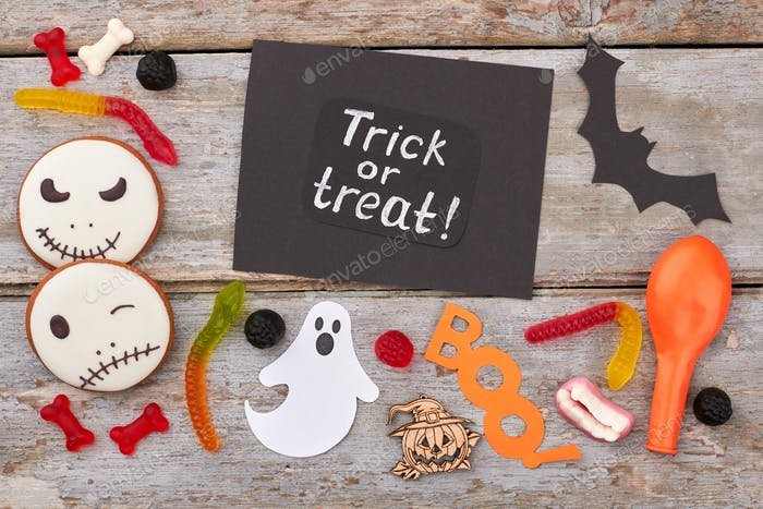 Halloween paper decorations and treats.