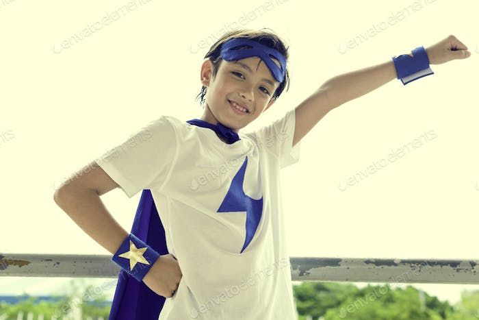 Superhero Boy Imagination Freedom Happiness Concept