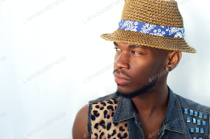 Confident young black man with hat