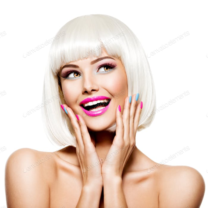 Fun happy face of a pretty woman  with white hairs and multicolor nails.