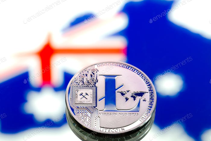 Coins litecoin, against the background of Australia and the Australian flag.