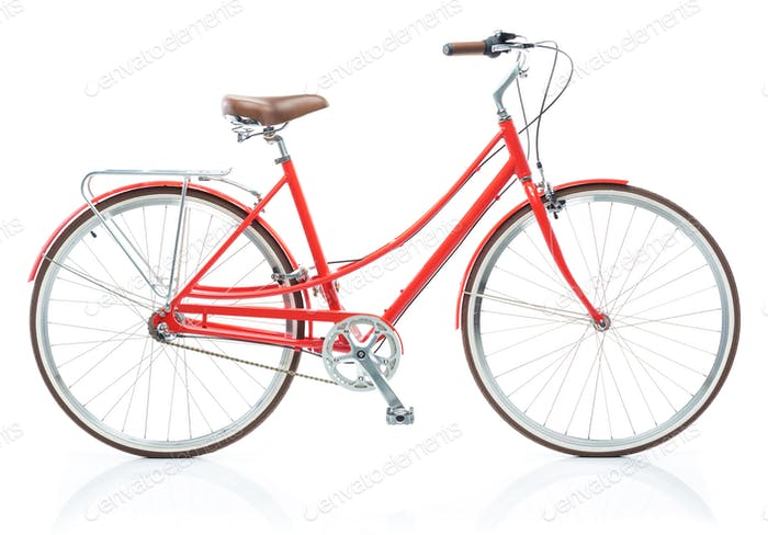 Stylish womens red bicycle isolated on white