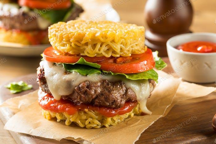 Homemade Ramen Cheese Burger