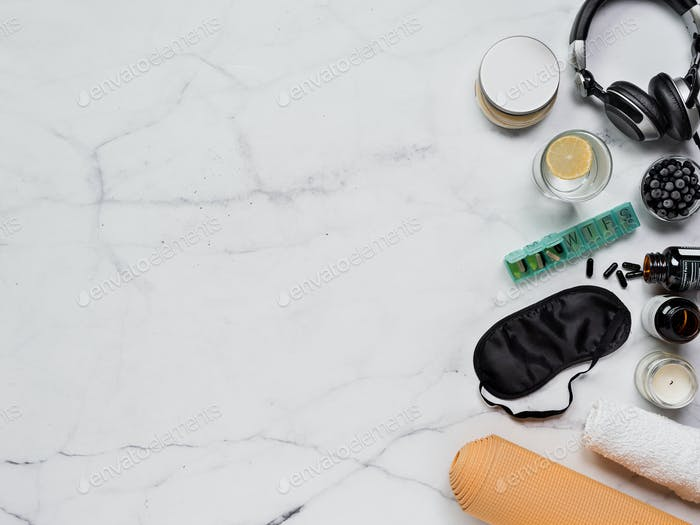 Biohacking flat lay concept, copy space