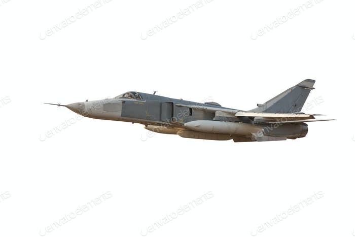 Military jet bomber Su-24 Fencer flying a white background