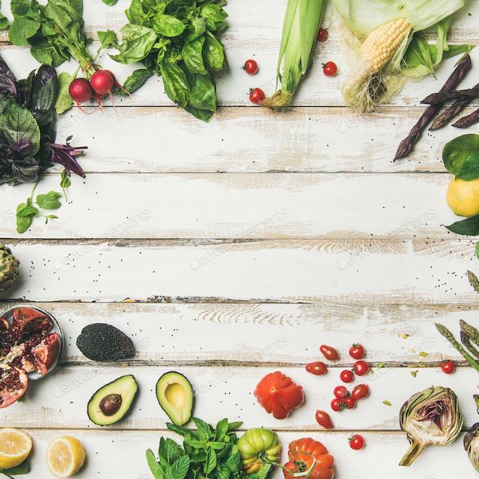 Gesunde rohe Sommer-vegane Zutaten