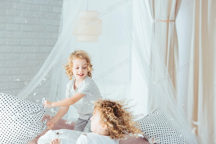 Siblings having pillow fight