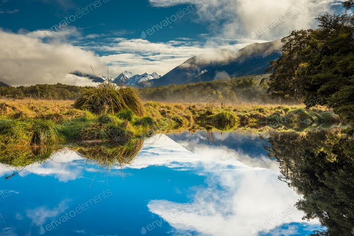 Mirror Lakes with reflection of Earl Mountains, Fjordland Nation