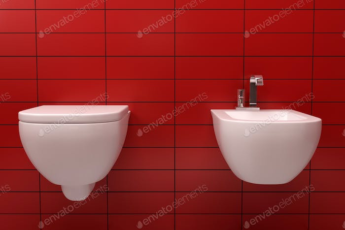 modern toilet with red tile on wall