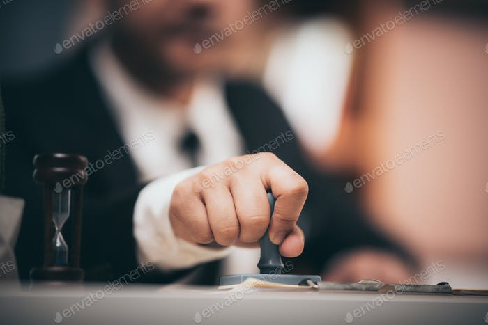 Business people are checking marketing documents