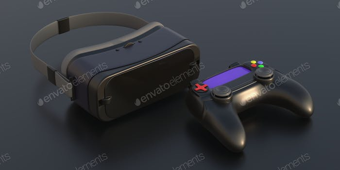 Virtual reality helmet video game controller on black background. 3d illustration