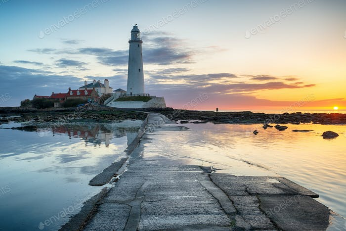 Stunning Sunrise over St Mary's Lighthouse