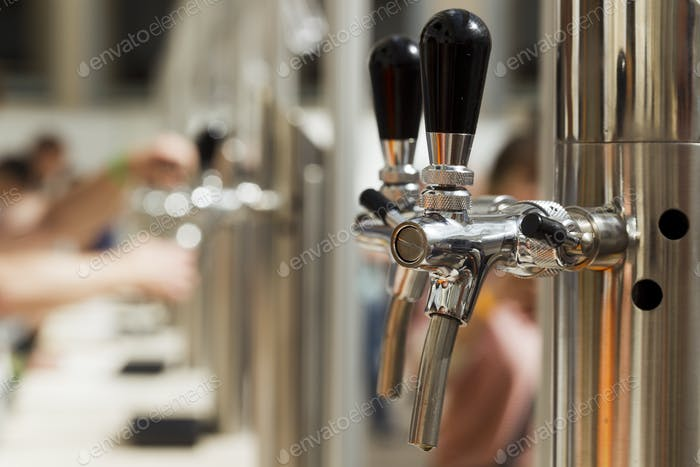 Bright metal beer tap