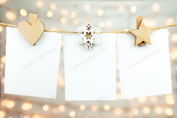 Christmas greeting card on christmas lights background