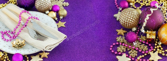 Golden and purple Christmas decorations