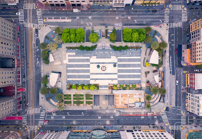 Aerial View of Empty San Francisco Union Square during Shelter in Place
