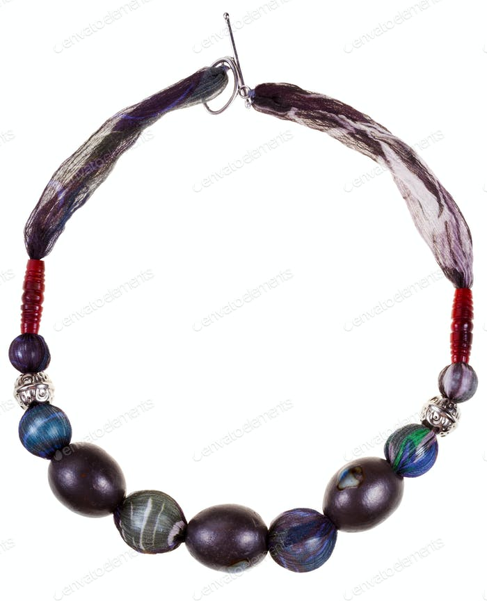 f black glaze ceramic and silk necklace